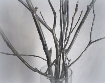 "Silver tree branches 5 decorative 28"" wood branches home decor 25th wedding anniversary centerpiece party decoration modern minimalist"