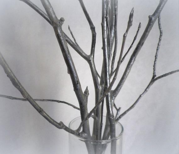 Argento 5 rami decorativi 28 legno rami di albero casa - Rami decorativi legno ...