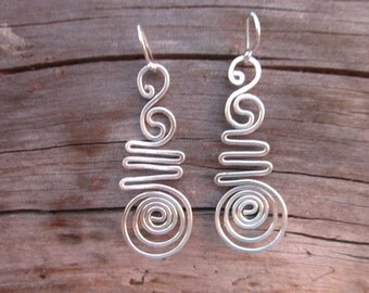 Sterling Silver Wire Spiral Earrings - #14