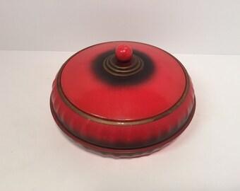 Vintage 1930s-40s red metal sewing box