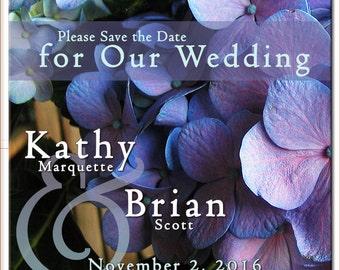 Save the Date Hydraenga Magnet, Blue Hydraenga, Floral Save the Date, Wedding Save the Date, Wedding Magnets, Blue Hydraenga Magnet
