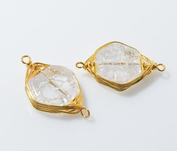 cracked gemstone brass connector jewelry supplies