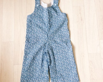 SALE!! Ready to Ship! Handmade Boys Liberty of London Print Romper in Pepper Tana Lawn age 0-3m