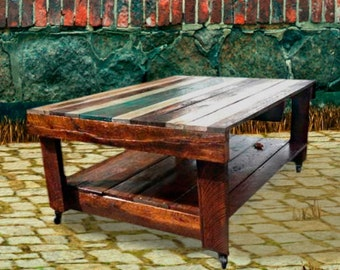 """Individual order! Pallet table, wood coffee table,cheap tables,pallet firniture,wood coffee table,rustic table, solid wood """"Rustic history"""""""