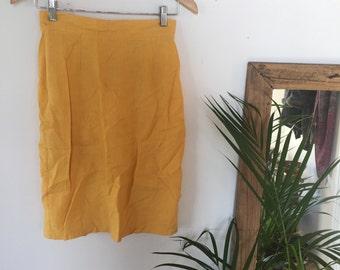 Linen cotton pencil skirt