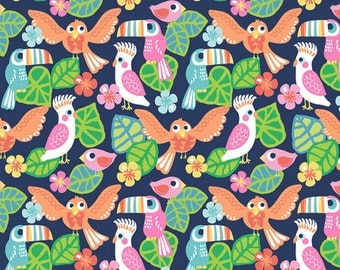 See You Later - Birds Of Paradise Fabric - Navy - Sold by the 1/2 Yard
