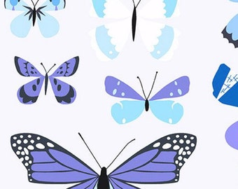 Natural History Butterflies Fabric - Blue - sold by the 1/2 yard