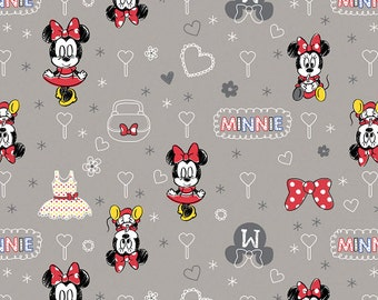 Disney Mickey Mouse & Friends - Minnie Fabric - Zinc - sold by the 1/2 yard
