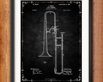 Patent Print Slide Trombone Musical Instrument Musician Gift Slide Trombone Poster Music Decor Music Gifts for Musician Blueprint 1036