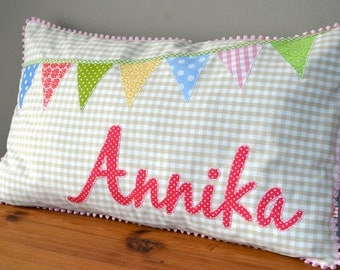 gift for birth / baptism: cushion with name patch and garland