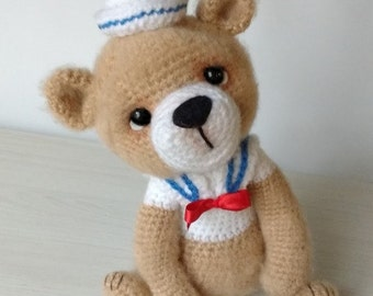 Elfin Thread- Bernard the Vintage Sailor Bear PDF Amigurumi Pattern (Crochet Teddy Bear Pattern)