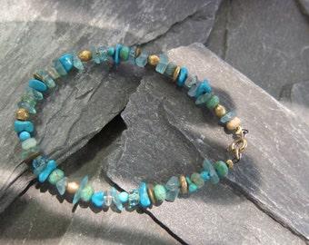 """Turquoises Bracelet """"Anoki"""" by Stephane de Blaye, Turquoises nuggets, Lapis Lazuli."""