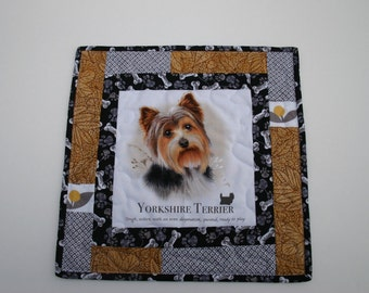 Yorkshire Terrier - Mini quilt -  handmade -  quilt - wall hanging - table top - Yorkie