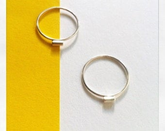 Mini ring tube in silver - small silver ring