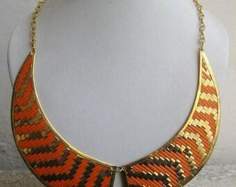 Metal Collar Necklace/Geometric Necklace/Orange Necklace/Bohemian Necklace/Gold Necklace