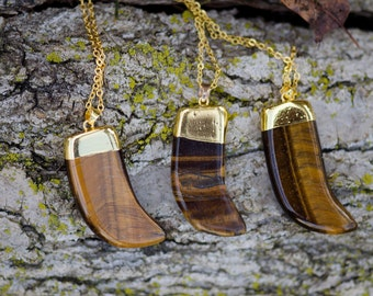 Natural Stone Tiger's Eye Gold-Plated Necklace