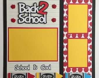 "Premade 12""x12"" Back To School Scrapbook Layout"