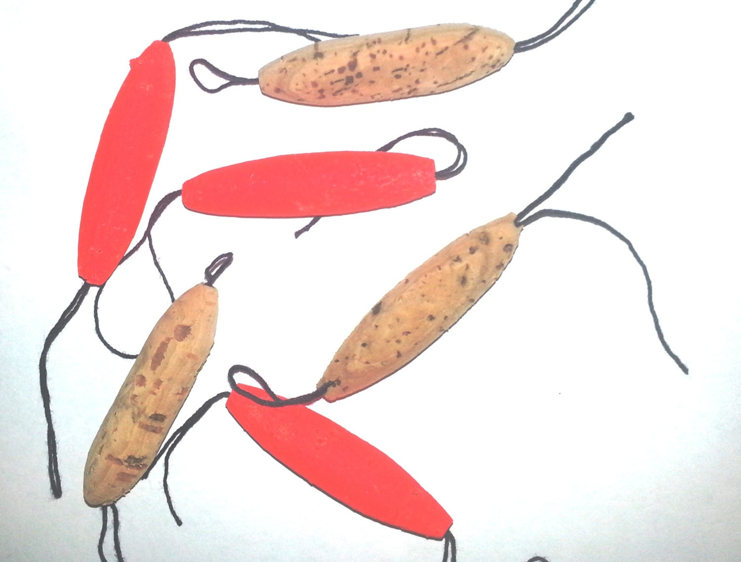 12 string cork fishing floats real cork self threading for Fishing floats types