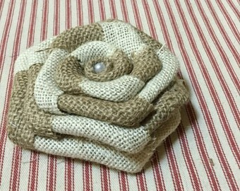 """5"""" Large Natural and Ivory """"Swirled"""" Burlap Flowers for Rustic Wedding Venue Cottage Chic Table Decor Country Outdoor Party Table"""