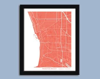 Redondo Beach map, Redondo Beach city art map, Redondo Beach wall art poster, Redondo Beach decorative map