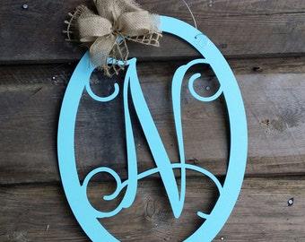 Painted Initial Door Hanger - Painted Wooden Letter - Door Hanger - Wreath