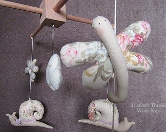 Baby mobile, Flying snails ,Crib mobile ,Nursery crib, Handmade , Wood - Fabric mobile ,shabby chic mobile