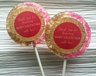 Baby Shower Sparkling Lollipop, Gold and Pink Sparkling Lollipop, Baby Shower Favor, Party Favor, Set of 6