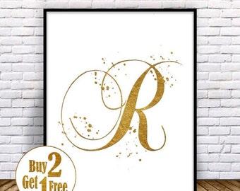 SALE: Letter R Print, Letter poster, Letter Art print, Letter Decor, Painting, Letter Wall Art, Letter Wall decor, Gold Art print 5