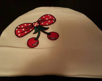 Bow and cherries baby hat 0-3 months
