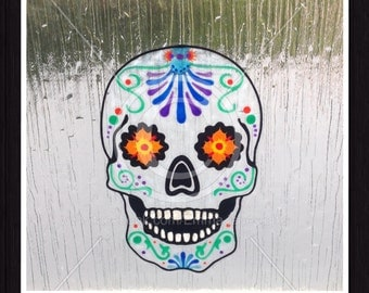 Sugar Skull window cling, hand painted, glass & mirror reusable static cling decals, Halloween, faux stained glass effect, decal, suncatcher