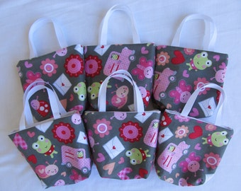 Set of 6 Valentine's Day Fabric Gift Bags/ Party Favor Bags/ Valentine Goody Bags- Lovebugs