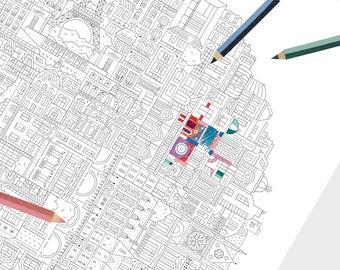 PARIS Cityscape Coloring Poster — Circle Mandala in Black & White