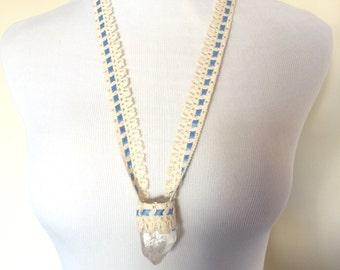 Lace Macrame Quartz Crystal Necklace