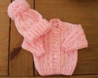 Hand knitted baby cardie & hat set -size new born