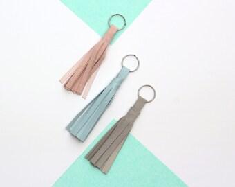 Suede Leather Tassel Keychain // Tassel Key Chain // Keyring