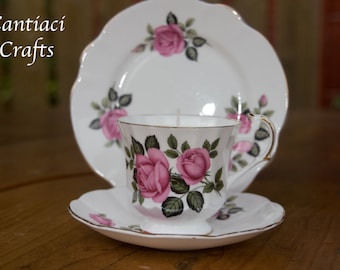 Pink rose trio teacup candle - rose scent