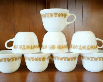 Vintage Pyrex Butterfly Gold Pattern Cups