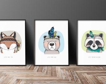 3 x A3 Size Nursery Prints - Large (Unframed)