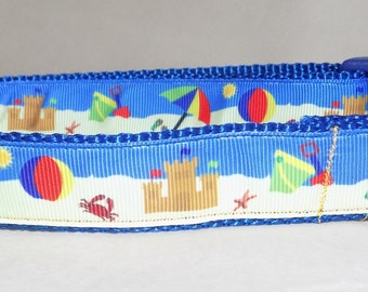 Summer Dog Collar, Beach Dog Collar, Sandcastle Dog Collar