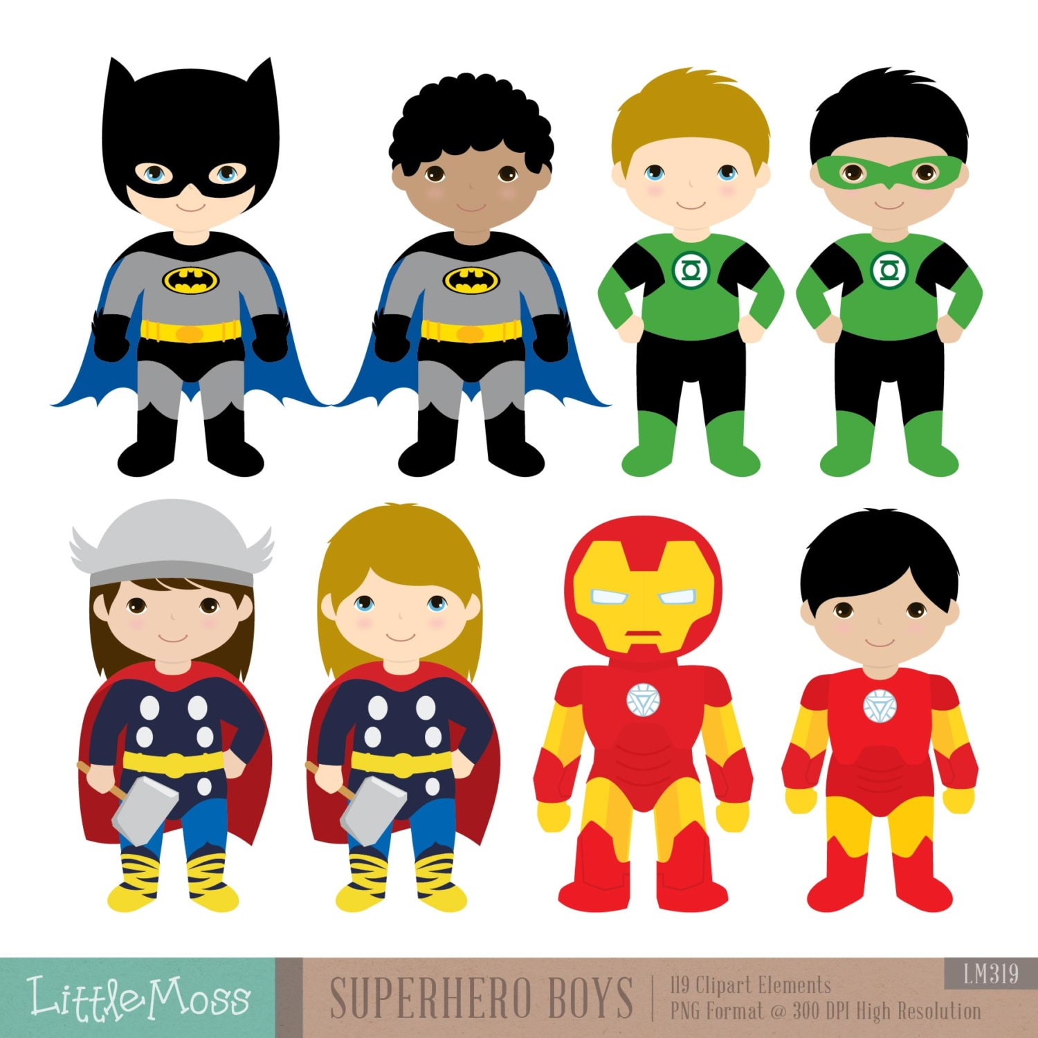 18 Boys Superhero Costumes Clipart Superheroes Clipart