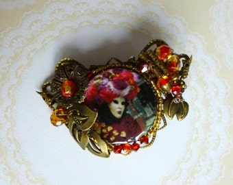 """PIN baroque """"Carnival of Venice"""" bronze metal filigree, illustrated cabochon, glass beads and Crystal"""