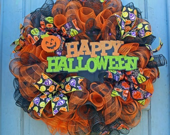 Halloween Wreath Decorations,Halloween Door Wreath,Fun Halloween Door Wreath,Whimsical Halloween,Halloween Decor, Halloween Deco Mesh Wreath
