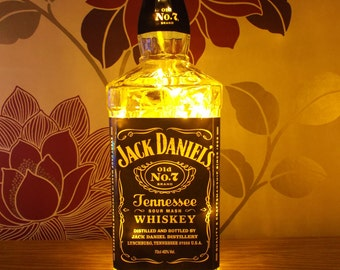 Upcycled Jack Daniels No 7 bourbon whiskey lamp - home, office, bar, man cave ... ANYWHERE