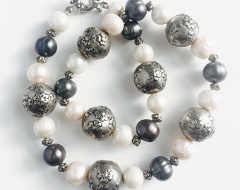 silver pearl black pearl necklace