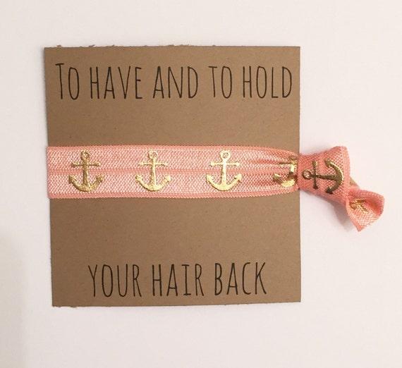 Bridesmaid hair tie favors//peach anchor//hair tie card//bridesmaid gift