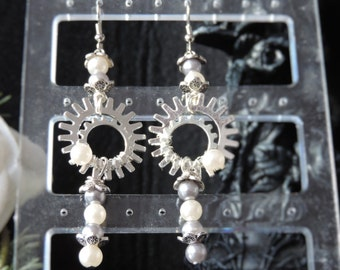 "Steampunk ""Belle Epoque"" - Silver earrings"