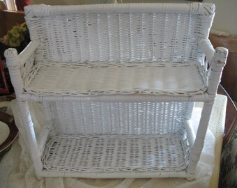 Vintage white rattan 2 shelf wall levels or on table