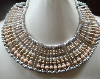 Statement necklace/collar Bärbel silver/rose