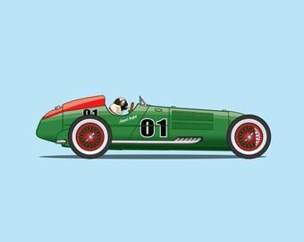 Pug driving green vintage F1 racing car! Rapid Ralph print!