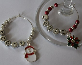 Luxury personalised Christmas wine glass charms